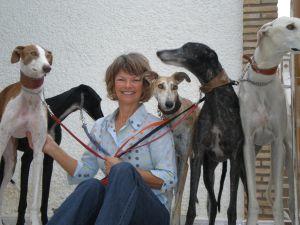 Gail and 5 greyhounds 300