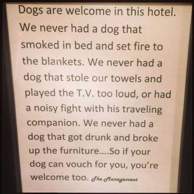 Hotel dog notice 400 9 2015