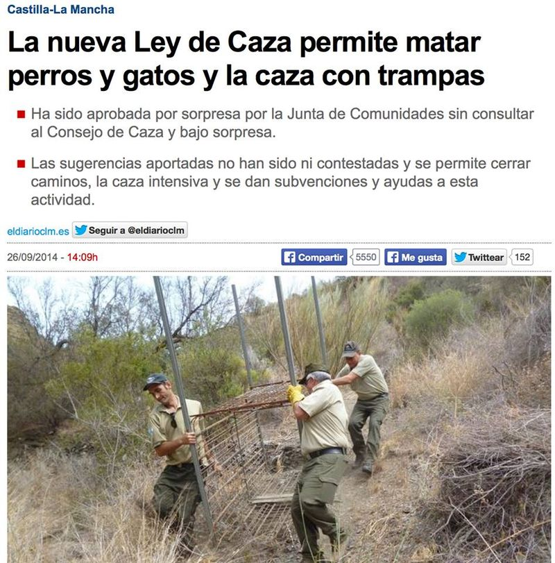 Castilla-La Mancha hunting with traps 9 2014