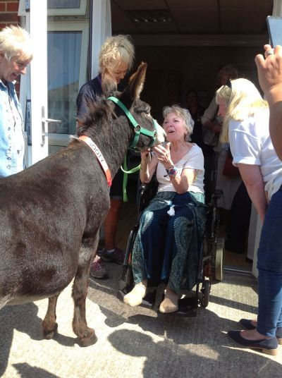 Anne Finch with donkey rip 400 5 08 2018